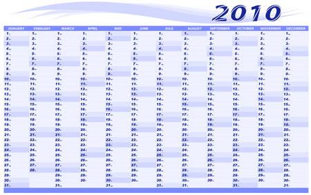 Calendar for 2010. The scheduler. A vector.