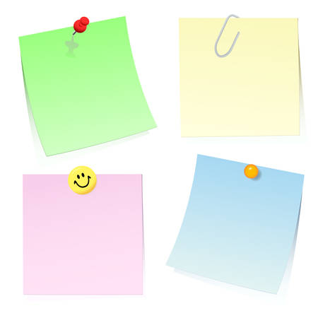 Four colour sticky notes for the message on a paper clip, a pin and a magnet. Vector.