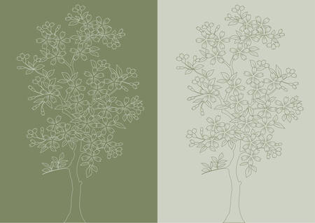 Planimetric plotting of a blossoming tree on a light and dark background.Vector. Vector