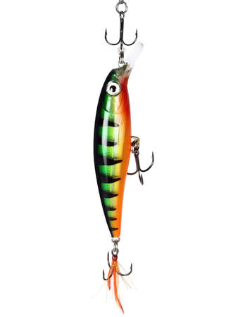 threefold: Fishing bait - a wobbler hanging on a threefold hook on the isolated white background