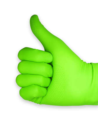 Thumbs up with a green rubber glove. Isolated on white background Stock Photo - 6689627