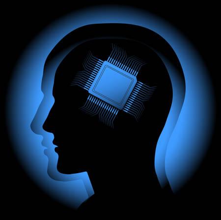 noyau: L'image abstraite symbolisant le cerveau humain comme un processeur. Vecteur