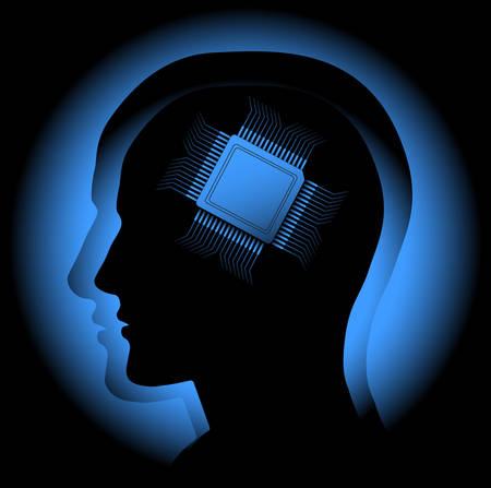 circuito integrado: La imagen abstracta que simboliza el cerebro humano como un procesador. Vector