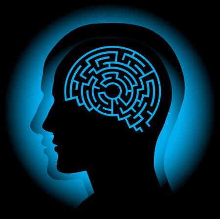 迷路として人間の脳を象徴する抽象的なイメージ。  イラスト・ベクター素材