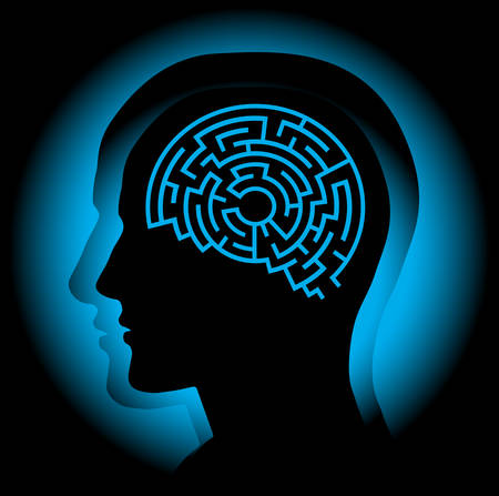 Abstract image symbolizing the human brain as a maze. Illustration