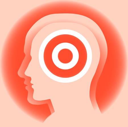 Imagen abstracta de una silueta de la cabeza de un hombre con el objetivo. Simboliza la meta del conocimiento ... Vector.