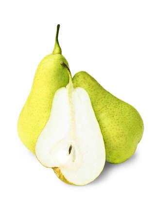 Three pears on white background Stock Photo