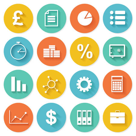 Business Icons in Flat Design for Web and Mobile Application Illustration