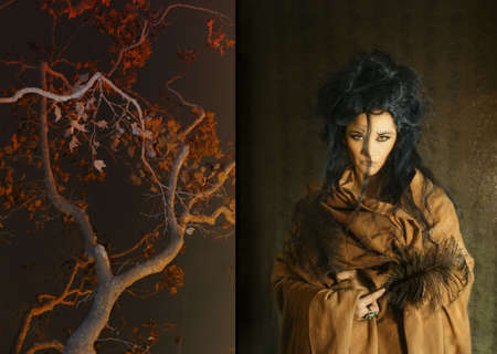 immobile: la celebraci�n de plumas mujer junto a un �rbol