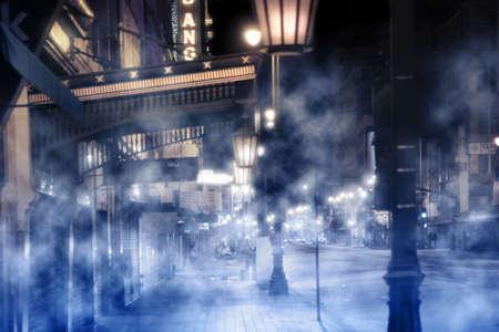 mistige straat beeld met verlichting en peolpe in de nacht