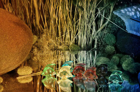 merchandise: colorful glass fishes standing on a mirror with decorations in the background