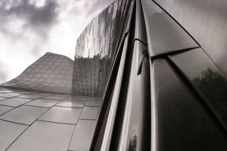 architectural studies: detail of tiles of a modern metal building Stock Photo
