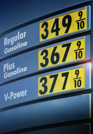 gallons: gas prices sign by a gas station in the US