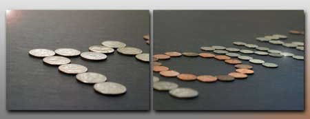 nickle: two photos next to each other capturing the word MONEY created by a series of coins