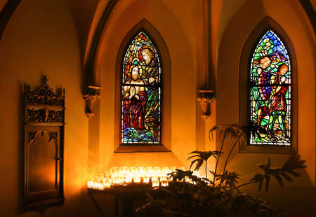 Intimate view of interior of small chapel