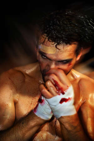gritty: Gritty portrait of a sexy young, bloody boxer