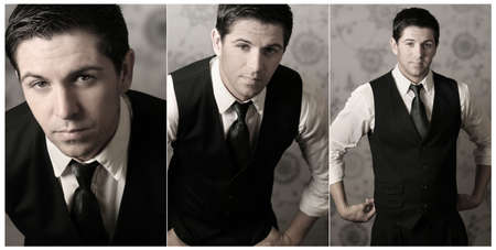 Collage of three photos of young stylish businessman (can be cropped into three images also) Stock Photo - 3898422