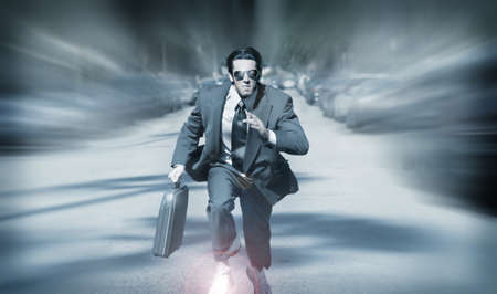speed race: Stylized portrait of running businessman with briefcase on the go Stock Photo