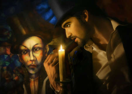 Magical portrait of carnival type man in top hat with pipe looking at painting of a clown photo