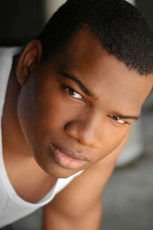 Close-up portrait of young good looking African American man Stock Photo - 4536220