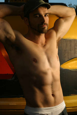shirtless guy: Sexy camisa tipo Foto de archivo