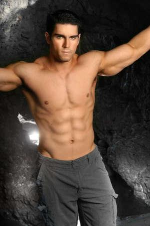 Shirtless bodybuilder Stock Photo