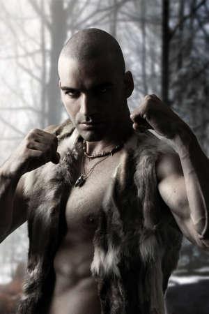 Stylized portrait of a tribal warrior 版權商用圖片