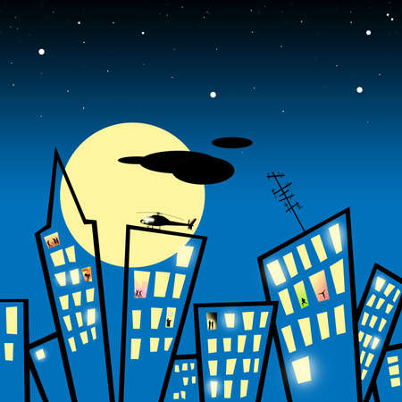 Abstract stylized photo illustration background of a city at night