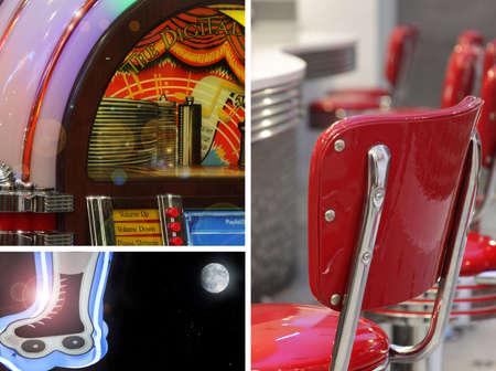 Abstract concept collage of retro fiftie's diner