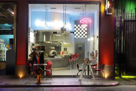 restaurant exterior: 1950s style diner at night (miniature model) Stock Photo