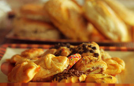 baked treat: Warm shot of assorted cookies and pastries