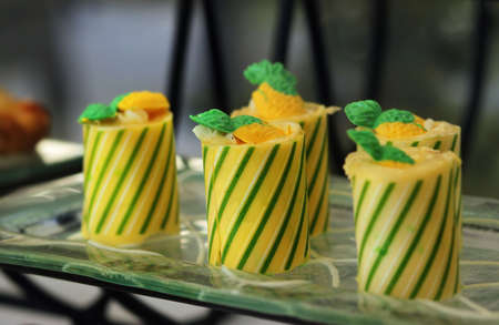 Fancy gourmet wrapped hors d oeuvres
