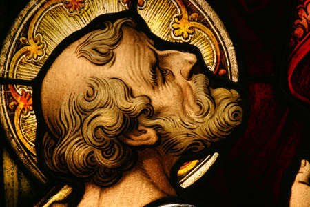 sain: Beautiful stained glass depicting a Saint looking up