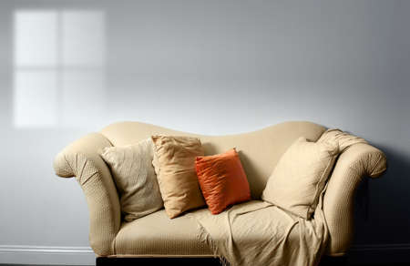 throw cushion: Elegant sofa with pillows against bare white wall