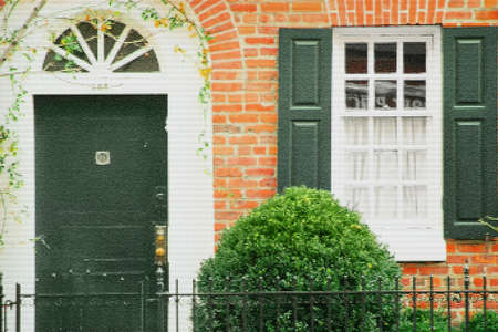 upscale: Front door of an upscale brick home   Stock Photo