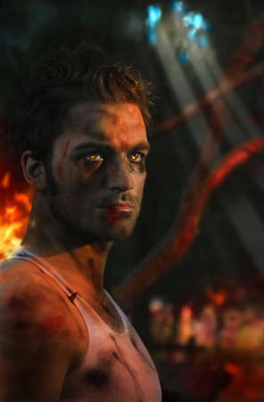 Stylized portrait of young soldier with flames in his eyes