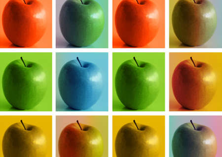 compostion: Conceptual modern art stylized photo compostion featuring series of apples