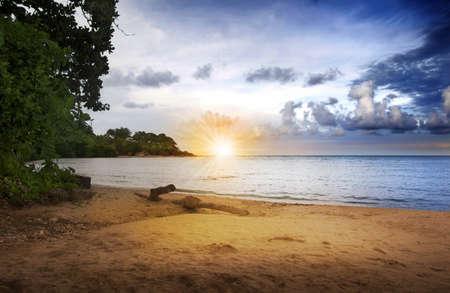 Sunrise over a sandy tropical beach with beautiful sky Stock Photo - 7784751