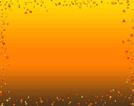 Autumn background in gradient of yellow and orange with falling leaves as border photo