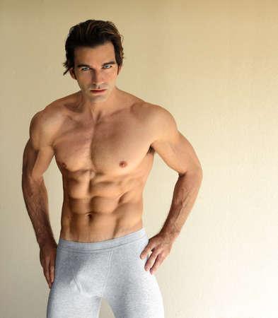 jungen unterw�sche: Body Portrait of sexy junger Mann in Boxer kurze Unterw�sche