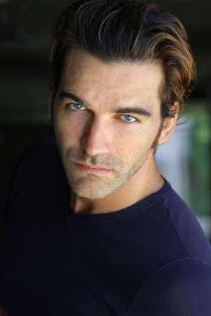 Close-up portrait of young good looking male model Banco de Imagens