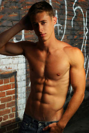 Portrait of a sexy shirtless male fitness model Stock Photo - 8552147