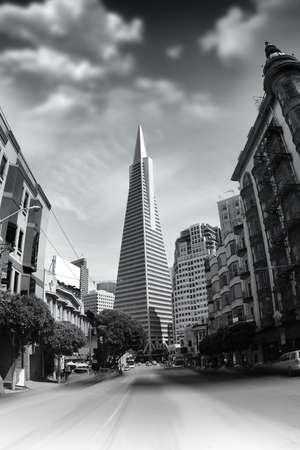 Monochrome citscape photo featuring the Transamerica Pyramid in San Francisco, California.