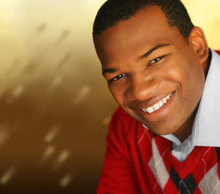 satisfied: Young African-American male smiling