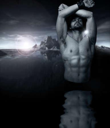 hombres sin camisa: Arte fant�stico estilizado retrato de un hombre sin camisa de agua reflexiva con la configuraci�n de sol y monta�as en segundo plano