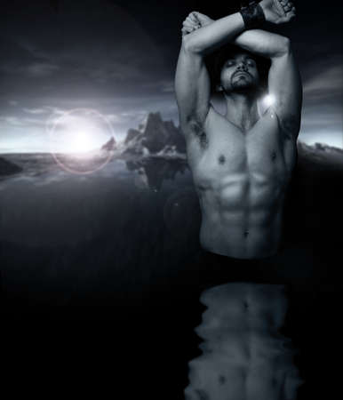Fantastical stylized fine art portrait of a shirtless man emerging from reflective water with setting sun and mountains in background photo
