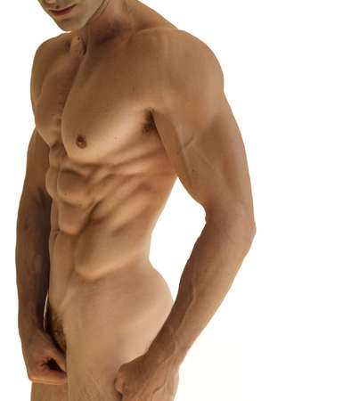 Body portrait of a muscular nude male body against white background