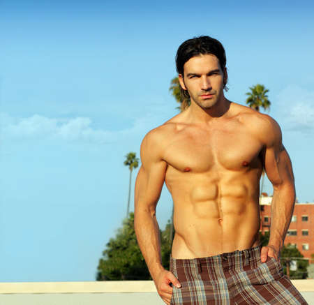 Portrait of a hunky shirtless male model outdoors Stock Photo - 9893313
