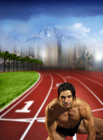Fantastical portrait of a young muscular male athlete on track field ready to run Imagens - 10000602
