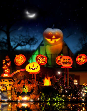 Happy Halloween image with lots of glowing jackolanterns in fantastical spooky environment photo